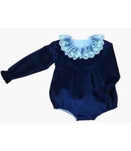 Velvet bodysuit Alice - BLUE