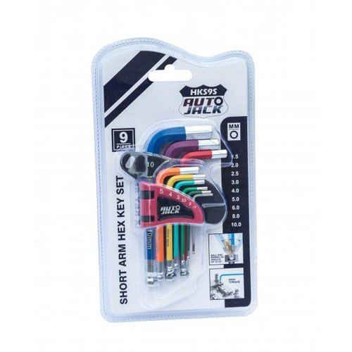 HKS9S Short Ball End Hex Key Set Color-Coded