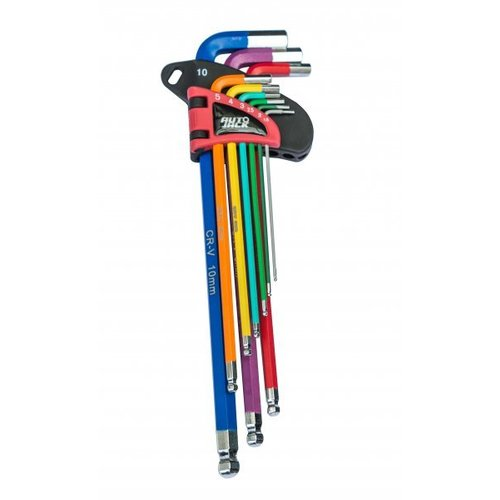HKS9L Long Ball-End Hex Key Set Color-Coded