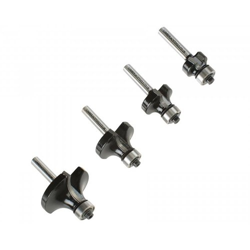 """LUMBERJACK BRS4PS14 4PCS 1/4"""" SHANK ROUND OVER BEADING EDGING ROUTER BIT WOODWORKING"""