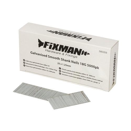Fixman Spijkers voor tacker - 25x1.25mm - 5000st.  - Gegalvaniseerd, gladde schacht