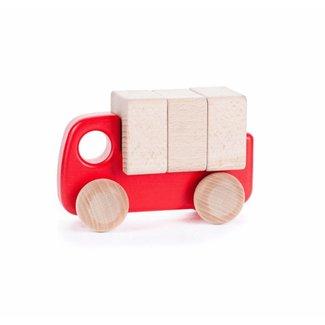 Bajo Houten Vrachtwagen met Blokken | Rood