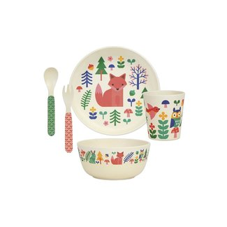 Petit Collage Bamboo Woud | Eco Dinner Set