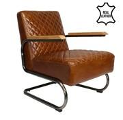 Bronx71 Industriële fauteuil Miley cognac leer
