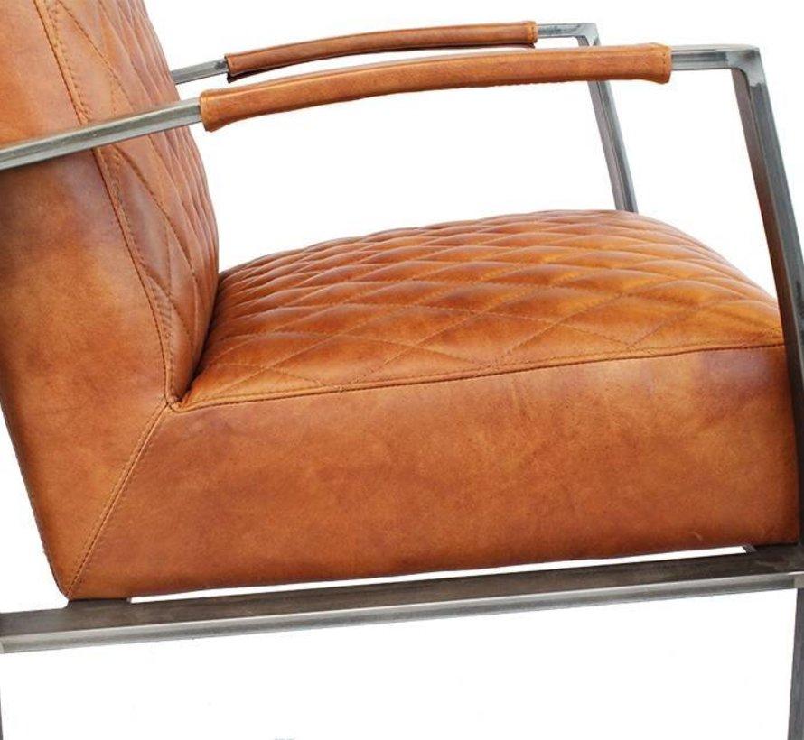 Industriële fauteuil Jayson cognac leer