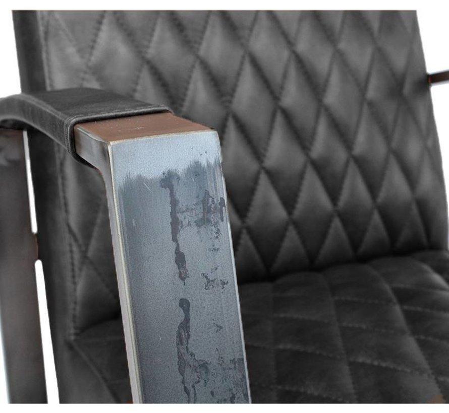 Industriële fauteuil Jayson zwart leer