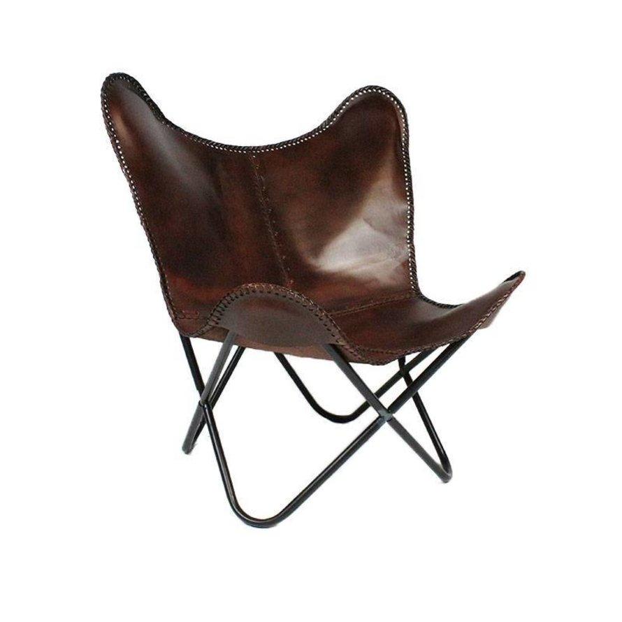 Vlinderstoel Flair bruin leer