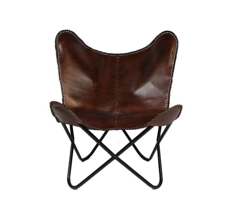 Vlinderstoel Flair bruin - 100% geitenleer