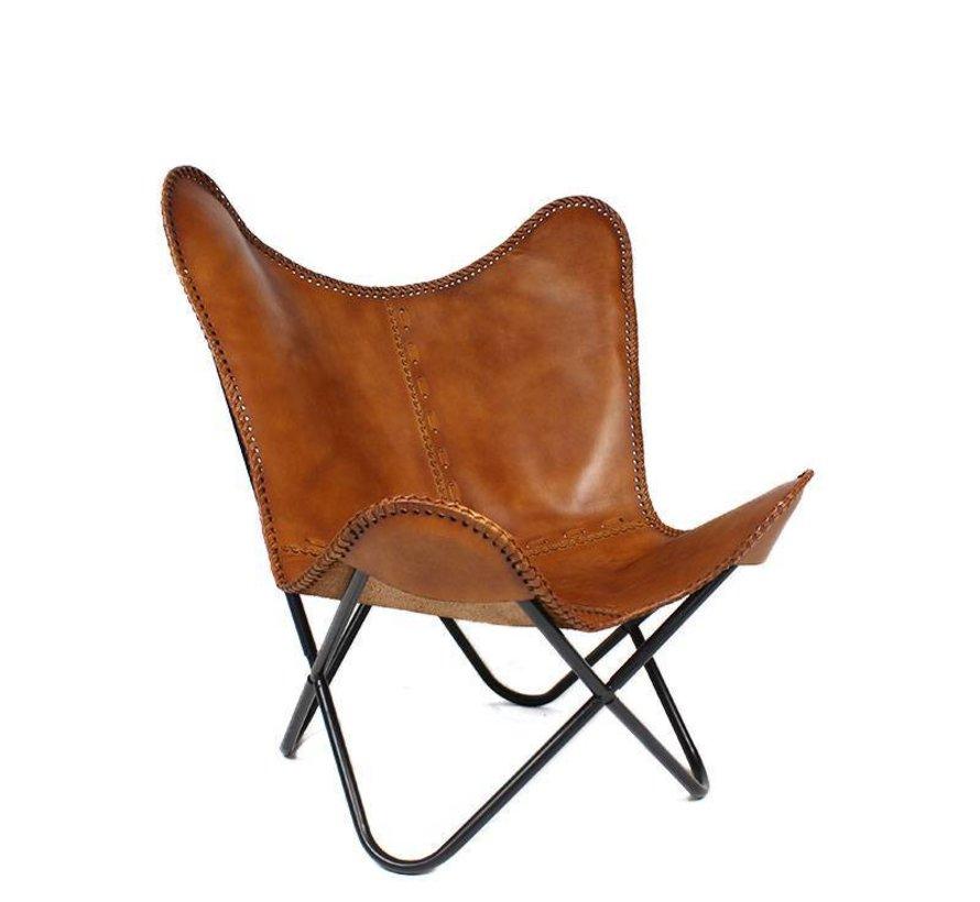 Vlinderstoel Flair cognac - 100% geitenleer