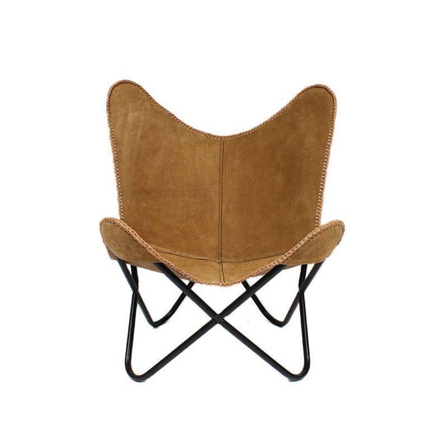 Vlinderstoel Flair camel leer