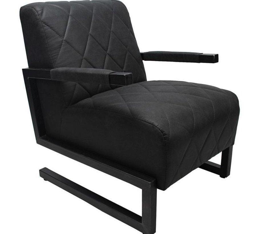 Industriële fauteuil Morris zwart microvezel