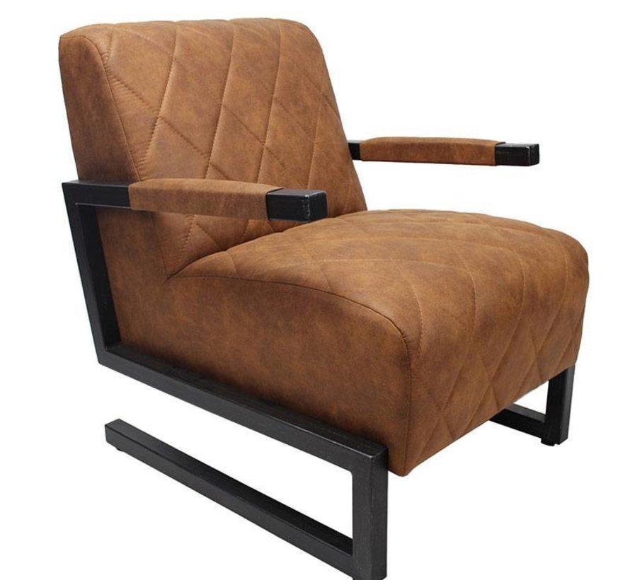 Industriële fauteuil Morris cognac microvezel