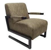 Industriële fauteuil Morris olijfgroen microvezel