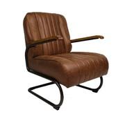 Industriële fauteuil Luca cognac leer