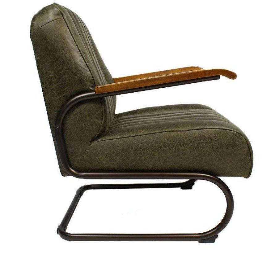 Industriële fauteuil Luca groen leer