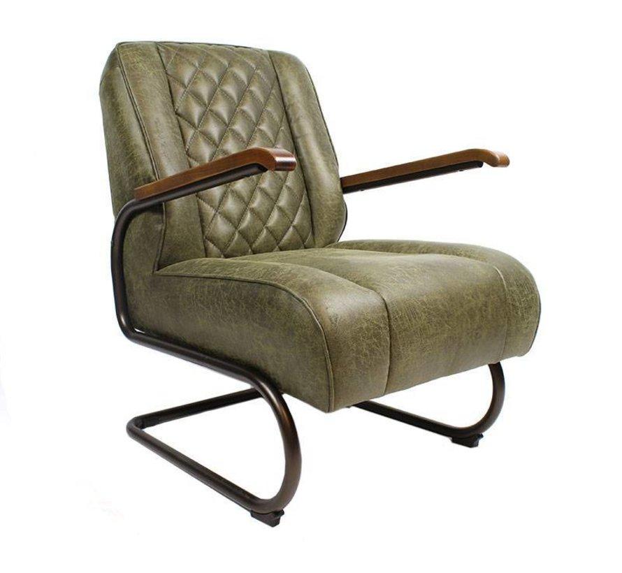 Industriële fauteuil Milan groen leer