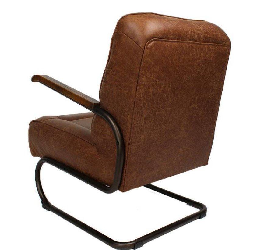 Industriële fauteuil Jake cognac leer
