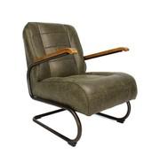 Industriële fauteuil Jake groen leer