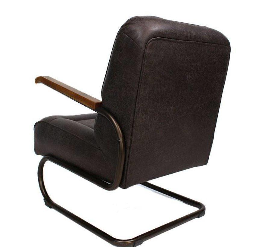 Industriële fauteuil Jake antraciet leer
