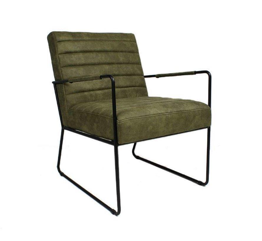Industriële fauteuil Sevilla olijfgroen