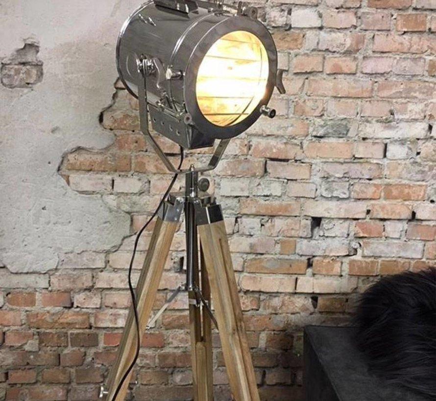 Industriële vloerlamp Detroit hout metaal