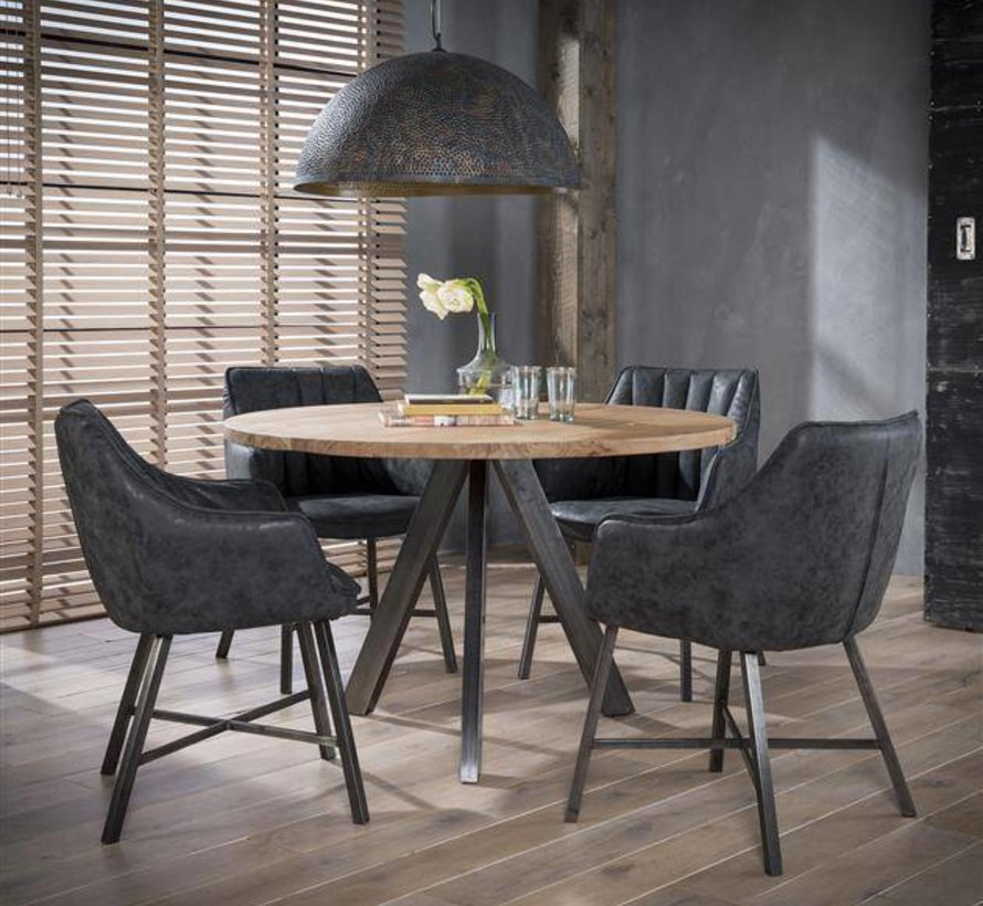 Eetkamer Tafel Rond Met 4 Stoelen.Ronde Eettafel Lotte O120 Acaciahout Rvs Frame Labelwise