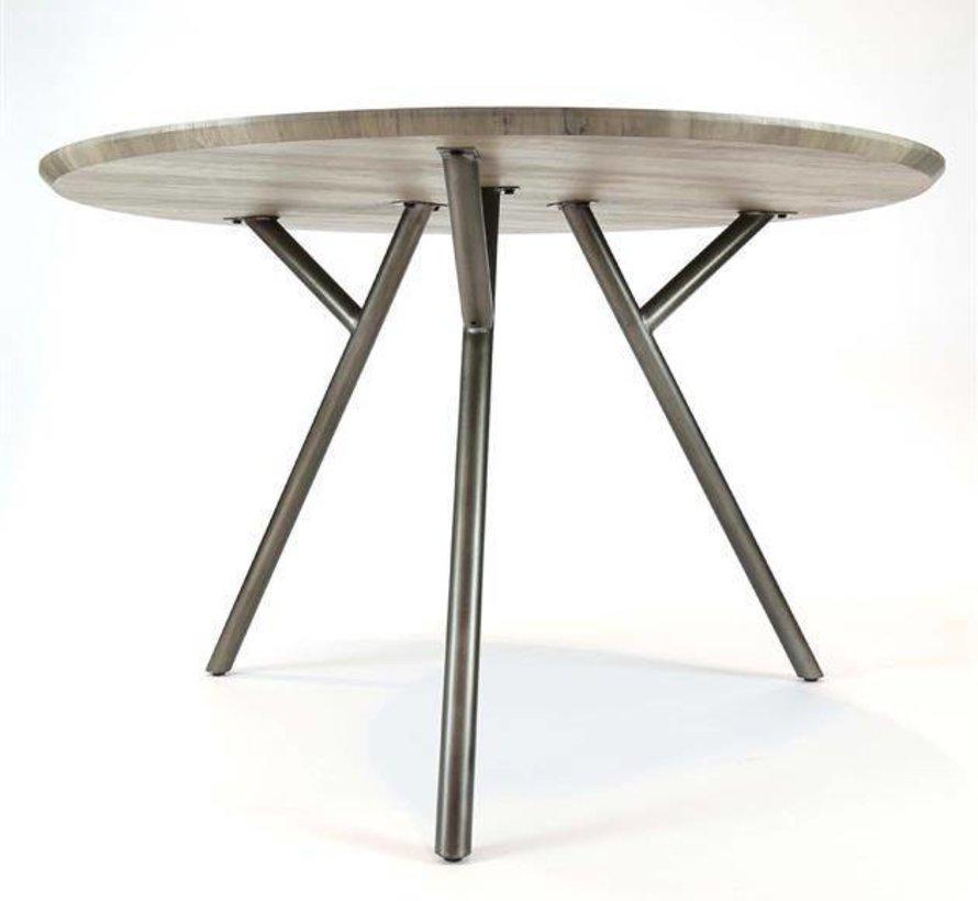 Eettafel MDF Jelle rond eiken greywash  Ø120 x 76 cm