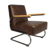 Bronx71 Industriële fauteuil Miley donkerbruin leer