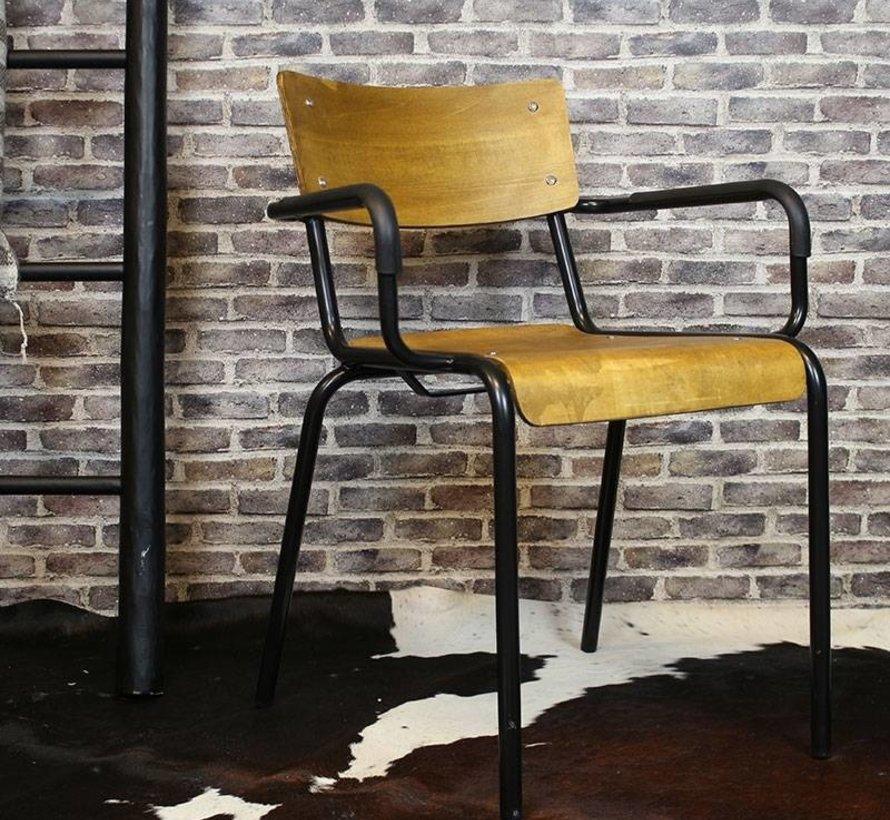 Stapelbare retro stoel met armleuningen