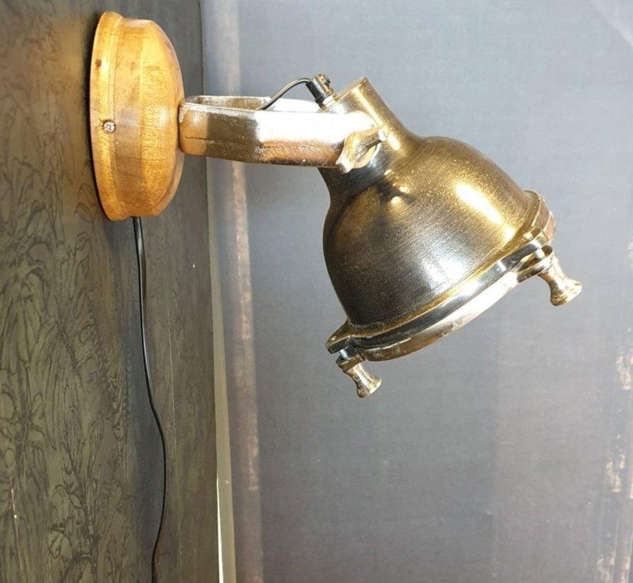 Horeca Wandlamp Austin mangohout metaal
