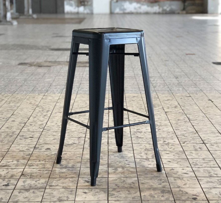 Retro café barkruk zwart 76 cm