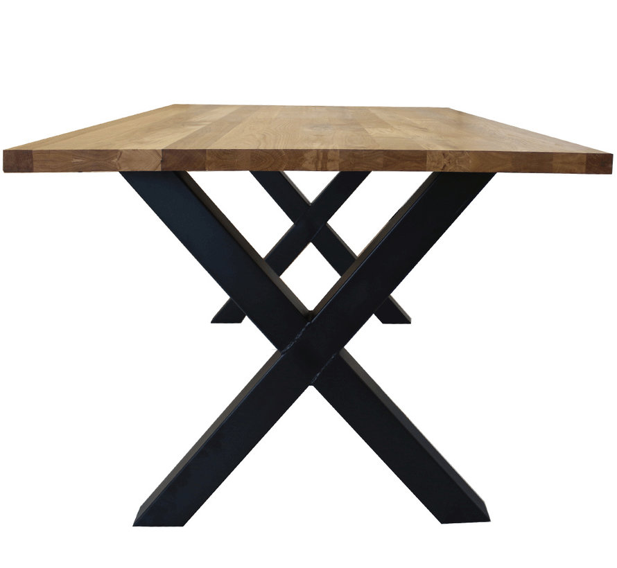 Massief eiken tafel 4cm Siem 180 x 90cm X-Poot