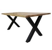Massief eiken tafel 4cm Siem 180 x 90cm boomstam X-Poot