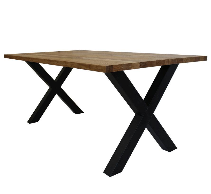 Massief eiken tafel 4cm Siem 220 x 100cm X-Poot