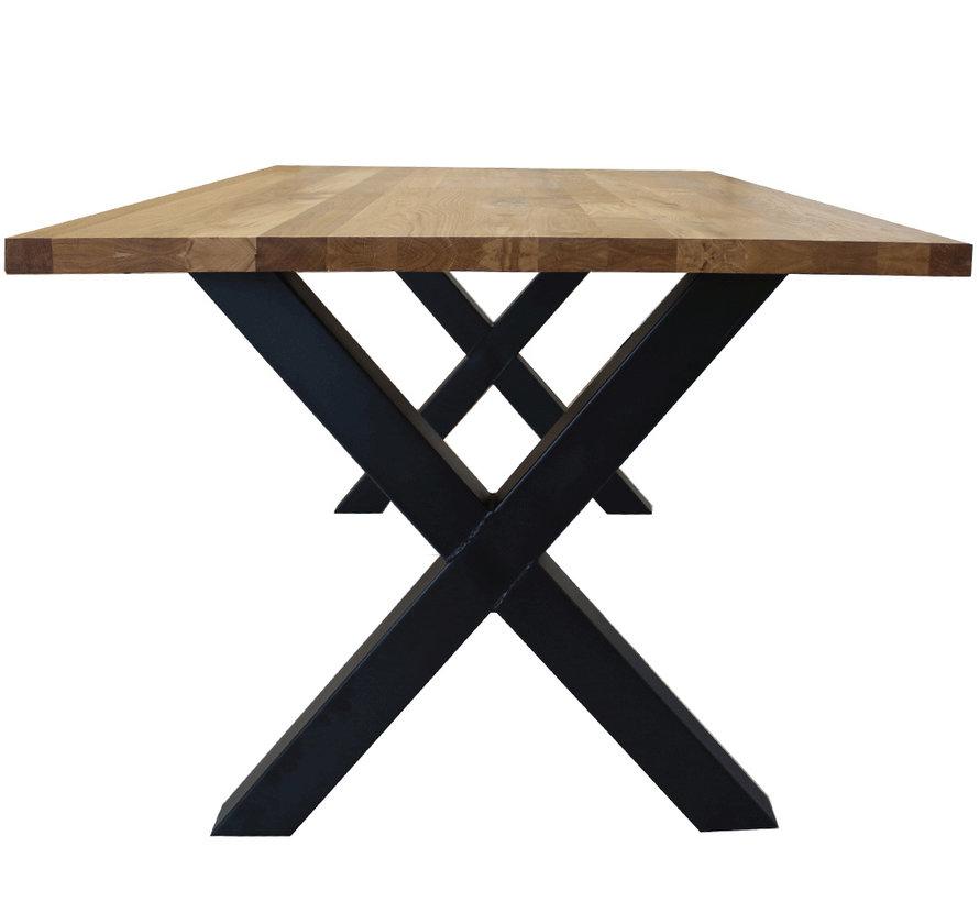 Massief eiken tafel Siem 220 x 100cm X-Poot
