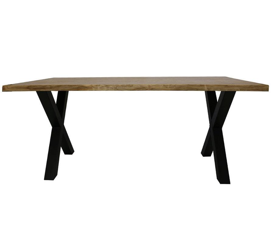 Massief eiken tafel Siem 220 x 100cm boomstam X-Poot