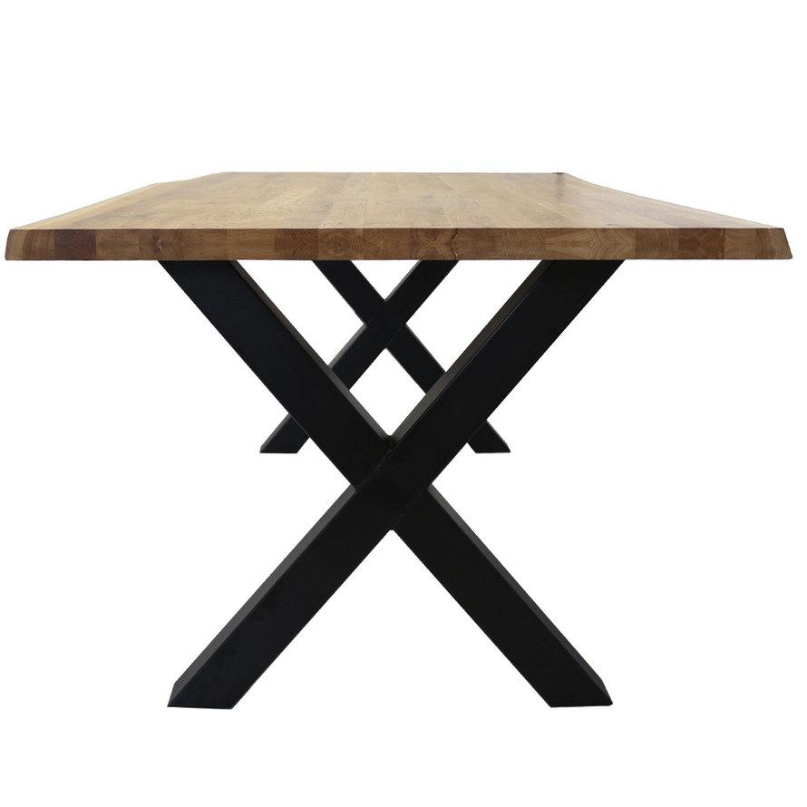 Massief eiken tafel Siem 240 x 100cm boomstam X-Poot