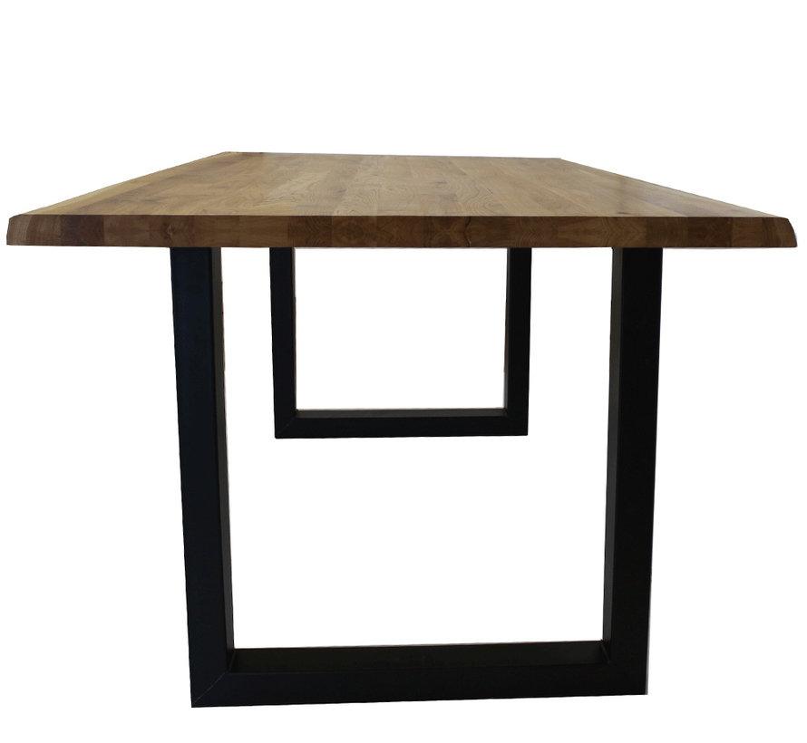 Massief eiken tafel Siem 200 x 100cm boomstam U-Poot