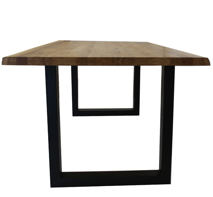 Massief eiken tafel 4cm Siem 220 x 100cm boomstam U-Poot