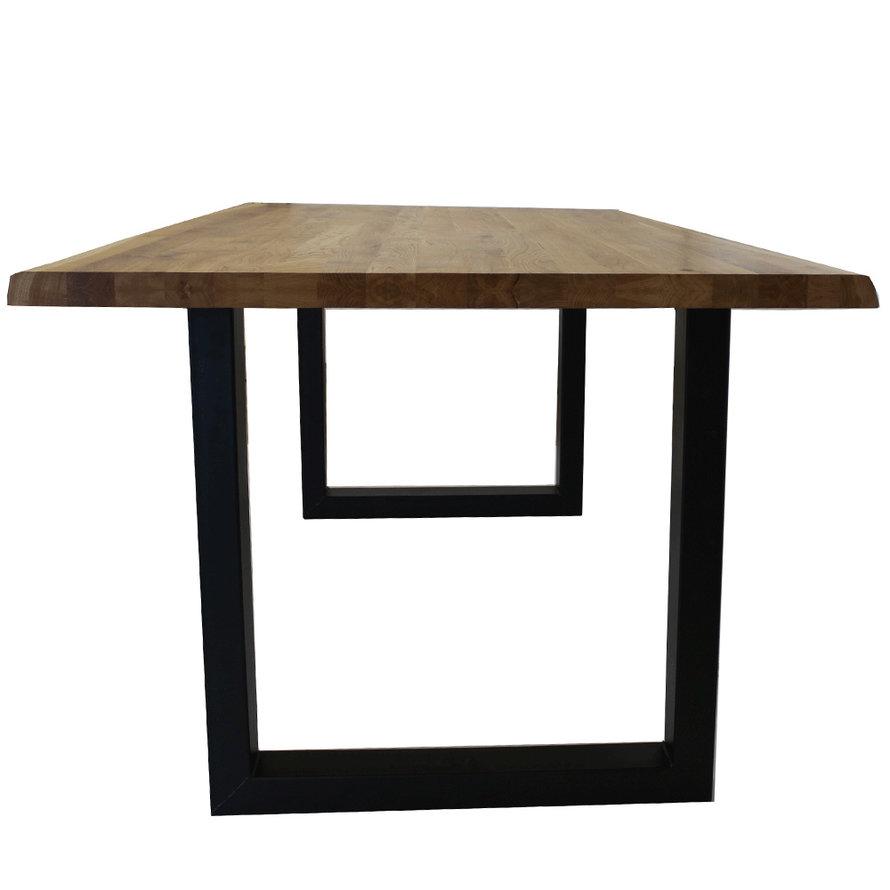 Massief eiken tafel Siem 220 x 100cm boomstam U-Poot