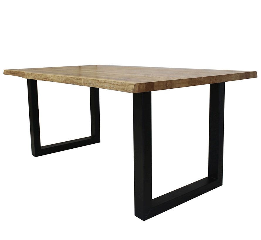 Massief eiken tafel Siem 240 x 100cm boomstam U-Poot