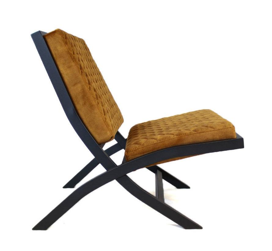 Design fauteuil Madrid velvet oker geel