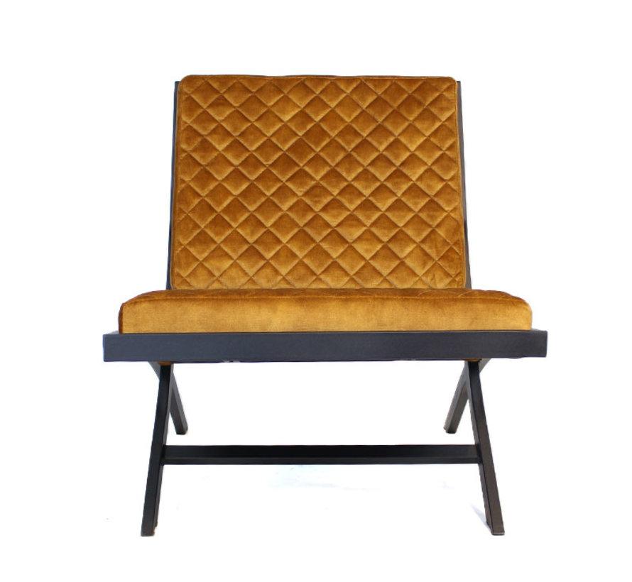 Design fauteuil Madrid velvet okergeel