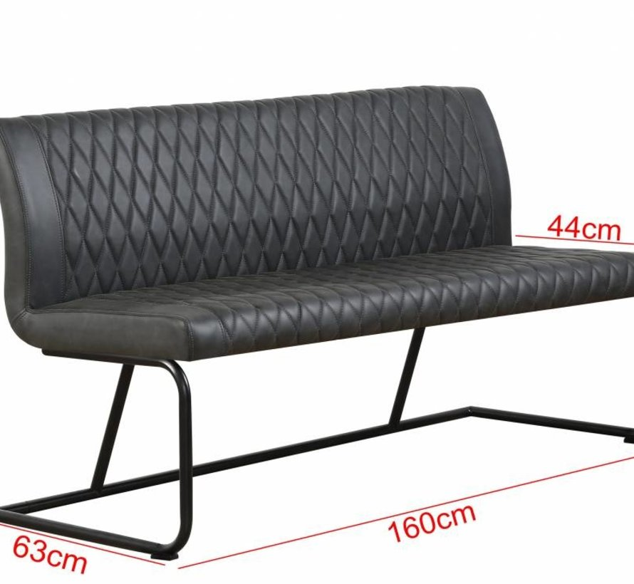 Eetkamerbank Bold 160 cm -  Zwart - PU Leer