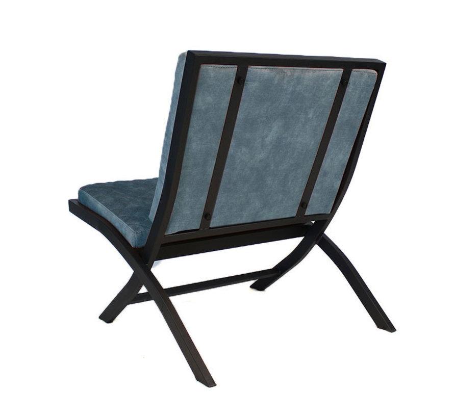 Design fauteuil Madrid velvet blauw