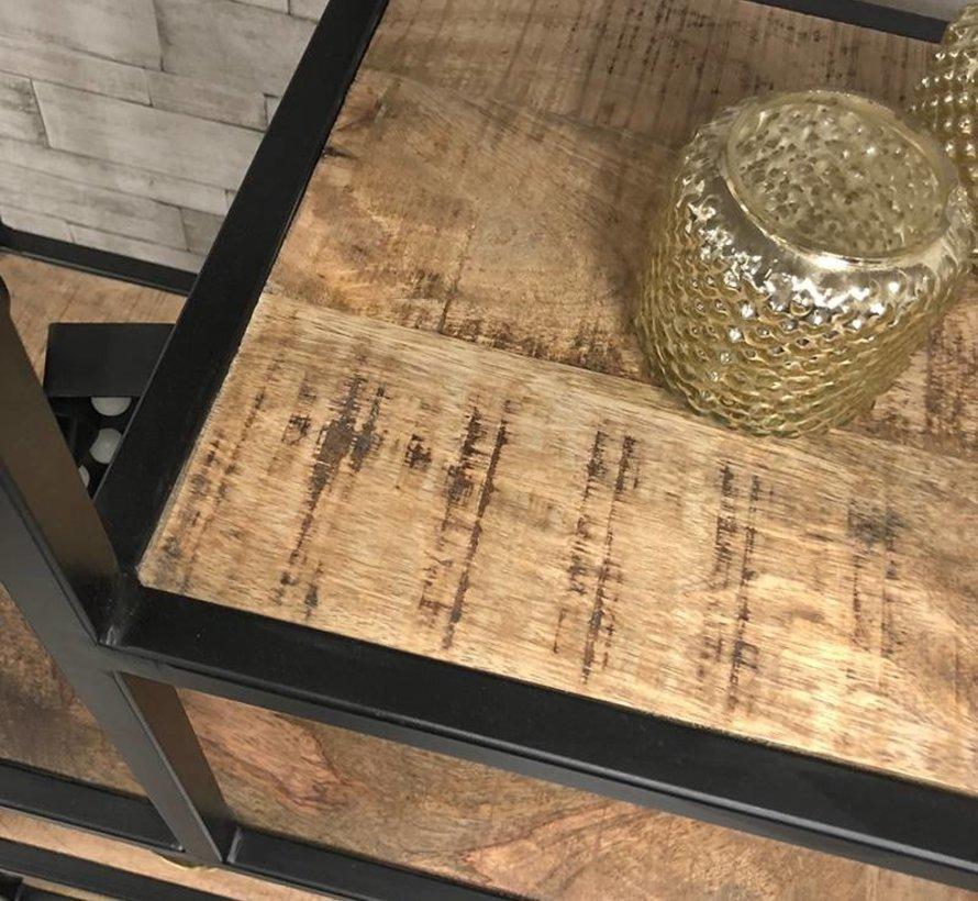 Industriële boekenkast Mats mangohout 80 x 188 cm
