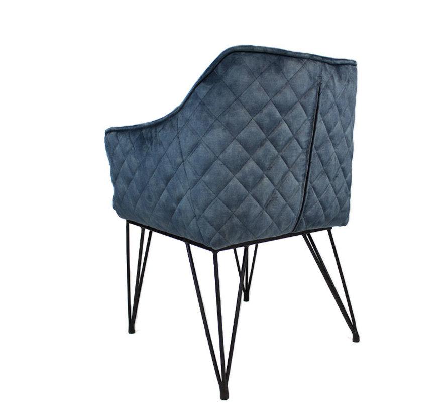 Horeca stoel Jayron blauw velvet