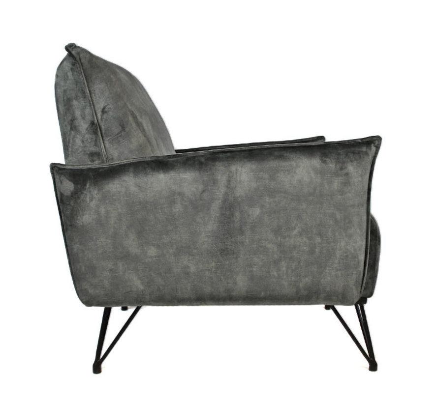 Fauteuil Mika Luxury velvet grijs