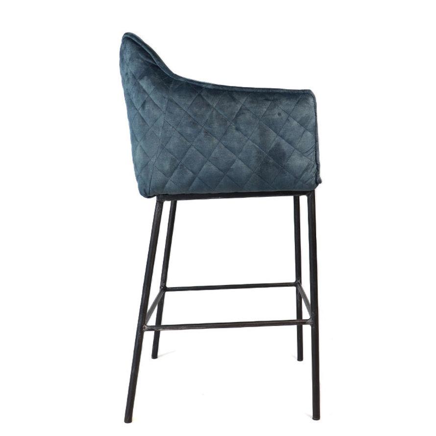 Horeca barkruk Jayron blauw velvet 82 cm