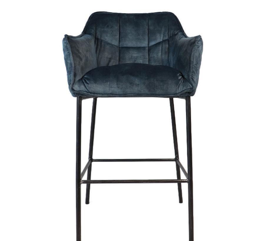 Horeca Velvet barkruk Jayron blauw 82 cm